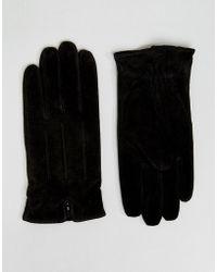 Barneys Originals - Barneys Suede Gloves In Black - Lyst