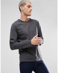 Pretty Green - Long Sleeve Jersey T-shirt In Grey - Lyst