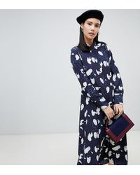Monki - Midi Face Print Shirt Dress In Navy - Lyst