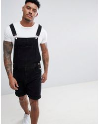 ASOS - Design Denim Short Dungarees In Black - Lyst