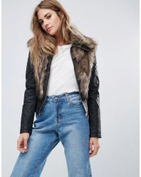 Urban Bliss | Faux Leather Jacket With Faux Fur | Lyst