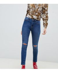 New Look - Ripped Knee Skinny Jeans In Blue - Lyst