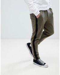 Stradivarius - Side Stripe Trousers In Khaki - Lyst