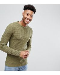 ASOS - Tall Muscle Fit Textured Jumper In Khaki - Lyst