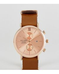 Reclaimed (vintage) - Inspired Rose Gold Chronograph Leather Watch In Brown Exclusive To Asos - Lyst