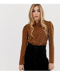 Fashion Union - Pussybow Blouse In Smudge Spot - Lyst