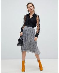B.Young - Check Pleated Skirt - Lyst