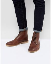 ASOS - Lace Up Boots In Tan Leather With Natural Sole - Lyst