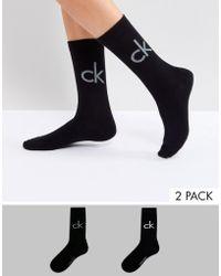 Calvin Klein - 2 Pack Retro Logo Crew Socks - Lyst