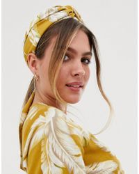 ASOS - Mustard Floral Twist Block Headscarf - Lyst