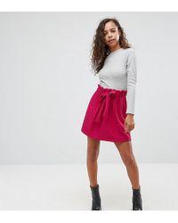 ASOS - Textured Mini Skater Skirt With Paperbag Waist And Belt - Lyst
