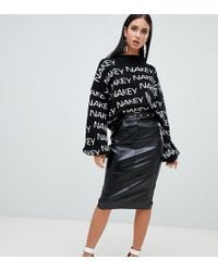 Missguided - Faux Leather Midi Skirt With Buckle Detail In Black - Lyst