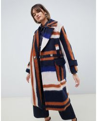 ASOS - Brushed Checked Coat - Lyst