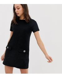 New Look - Pocket Detail Tunic Dress In Black - Lyst