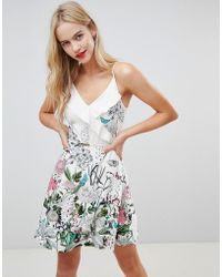 Oasis - Wrap Front Dress With Ruffle Detail In Floral Print - Lyst