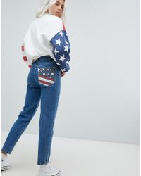 Pull&Bear - Usa Flag Mom Jeans - Lyst