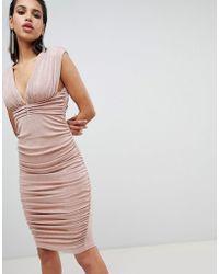 ASOS DESIGN - Slinky Super Ruched Low Back Midi Dress - Lyst