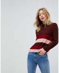 First & I - Stripe Fitted Knit Top - Lyst