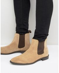 ASOS - Chelsea Boots In Stone Suede With Back Pull - Wide Fit Available - Lyst