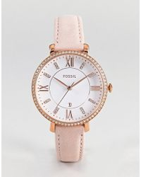 Fossil - Es4303 Jacqueline Leather Watch In Pink 36mm - Lyst
