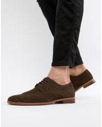 New Look - Faux Suede Brogue Shoes In Dark Brown - Lyst