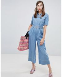 92531e9949 Sister Jane - Boiler Suit With Jewel Heart Belt In Denim - Lyst