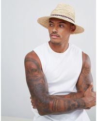d36f3a52647b27 ASOS Fedora Hat In Camel Felt With Unstructured Brim in Natural for Men -  Lyst