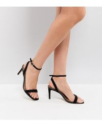 44a694dff5b3 ASOS Hang Time Wide Fit Barely There Heeled Sandals in Black - Lyst