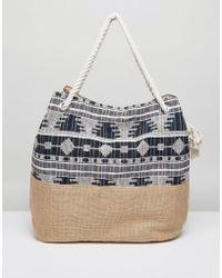Vincent Pradier - Navy Multi Print Bag With Rope Handle - Lyst
