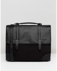 ASOS - Satchel In Saffiano Faux Leather And Charcoal Melton - Lyst
