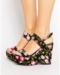 Warehouse - Floral Print Platform Wedges - Lyst