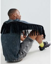 ASOS - Festival Standard Longline Long Sleeve T-shirt In Acid Wash With Back Fringing And Studding - Lyst