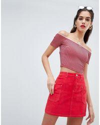 Missguided - Cord Contrast Stitch Mini Skirt - Lyst