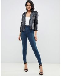 ASOS - Rivington High Waisted jeggings In Dark Stonewash Blue With Red Contrast Stitch - Lyst