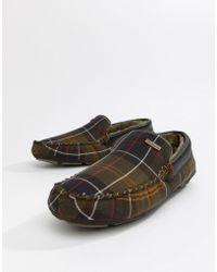 Barbour - Monty Faux Fur Lined Slippers In Classic Tartan - Lyst