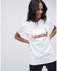 DIESEL - Foil Print Logo T-shirt - Lyst