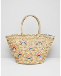 Chateau - Rainbow Print Straw Beach Bag - Lyst