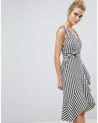 Warehouse   Thick Stripe Wrap Ruffle Dress   Lyst