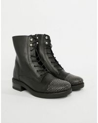ALDO - Leather Lace Up Flat Ankle Boots - Lyst