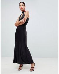 New Look Wrap Plunge Slinky Bodycon Dress in Black - Lyst 3e5d8e287