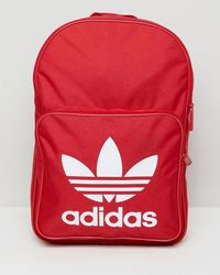 adidas Originals - Large Trefoil Logo Backpack In Red Dq3157 - Lyst d4c93a32768a4