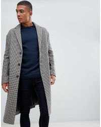 New Look - Over Coat In Brown Check - Lyst