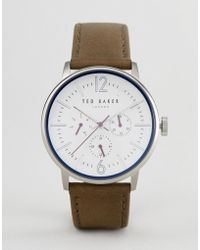 Ted Baker - Te15066004 Jason Chronograph Leather Watch In Olive 42mm - Lyst