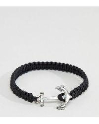 ASOS - Design Plus Anchor Bracelet In Black - Lyst