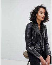 AllSaints - Quilted Leather Jacket With Faux Fur Collar - Lyst