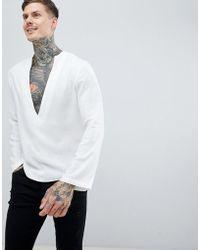 ASOS - Regular Fit Longline Viscose Shirt With Low V Neck - Lyst