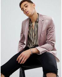 Moss Bros - Moss London Skinny Blazer In Velvet In Mink - Lyst