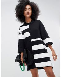 Monki - Oversized Rugby Dress In Black And White Colour Block - Lyst