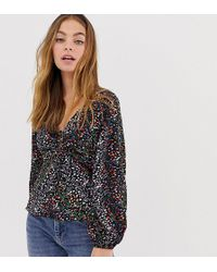 2973af2eca659f ASOS - Asos Design Petite Long Sleeve Tea Blouse With Ruched Detail In Ditsy  Floral Print
