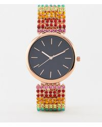 ASOS - Watch With Multicolour Crystal Strap - Lyst